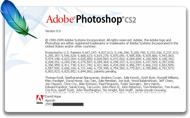 Photoshop CS2 About Screen